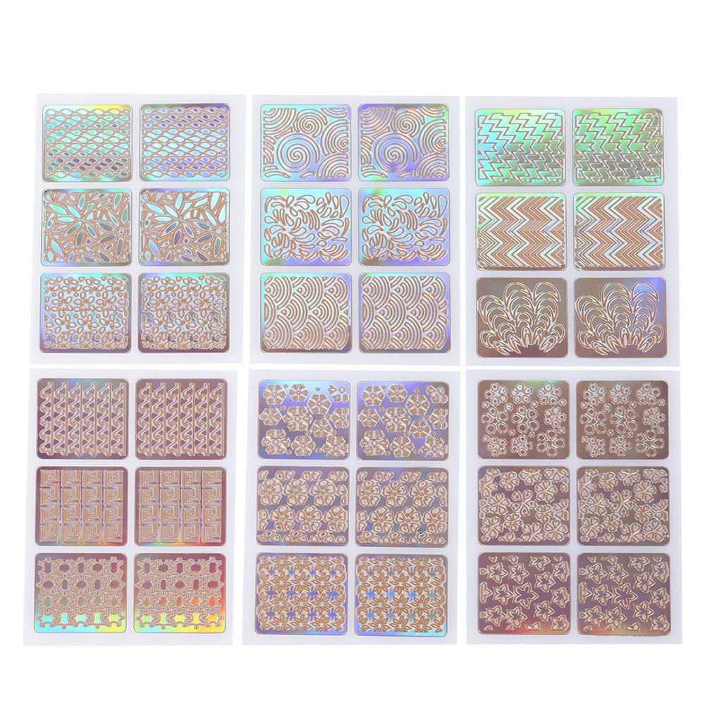 12pcs/set  Stickers Mixed Patterns French Nail Hollow