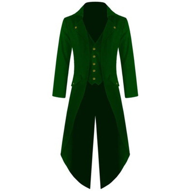 New Fashion Men Single-breasted Tuxedo Solid color Long sleeve Turn-down Collar Men p3601Green / 4XLBuy mate