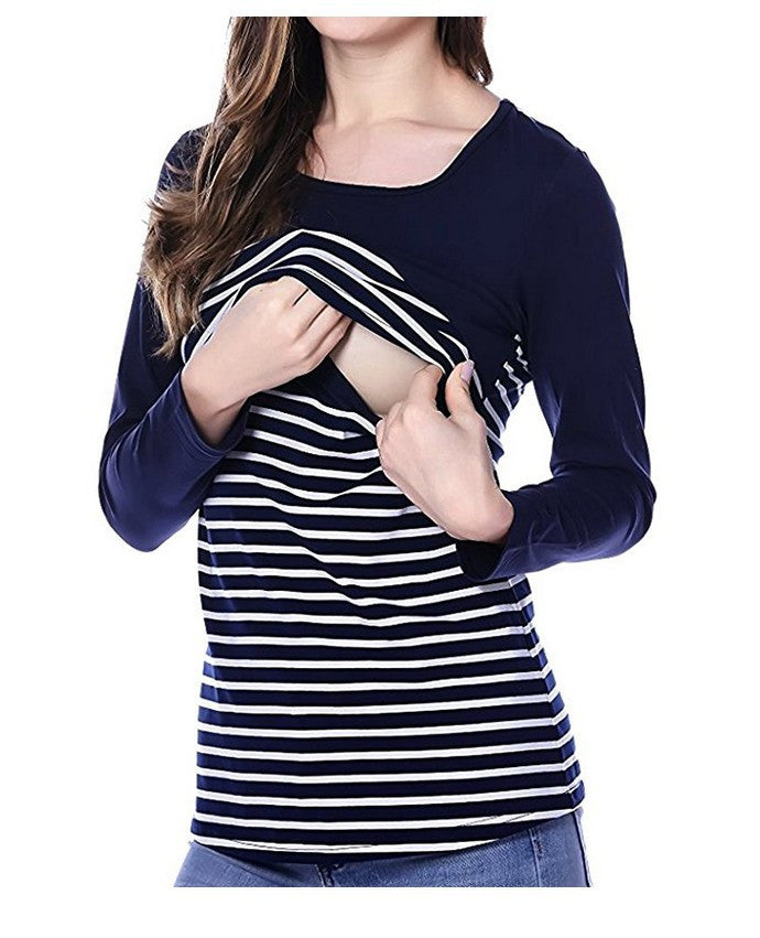 cc6d058d62caf Women Stripe Breast-Feeding Top Maternity Clothes Pregnancy Blouse Nursing  Shirt p2879