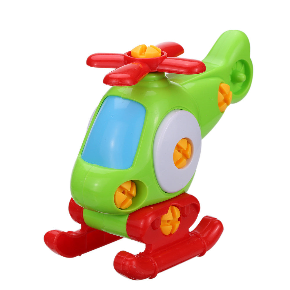 Colorful Disassembly Assembly Plane Helicoptor Toy with Building