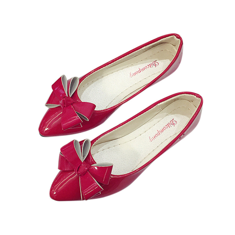 Fashion Bow Pointed Toe Women Flats Woman Flat Shoes Ballet