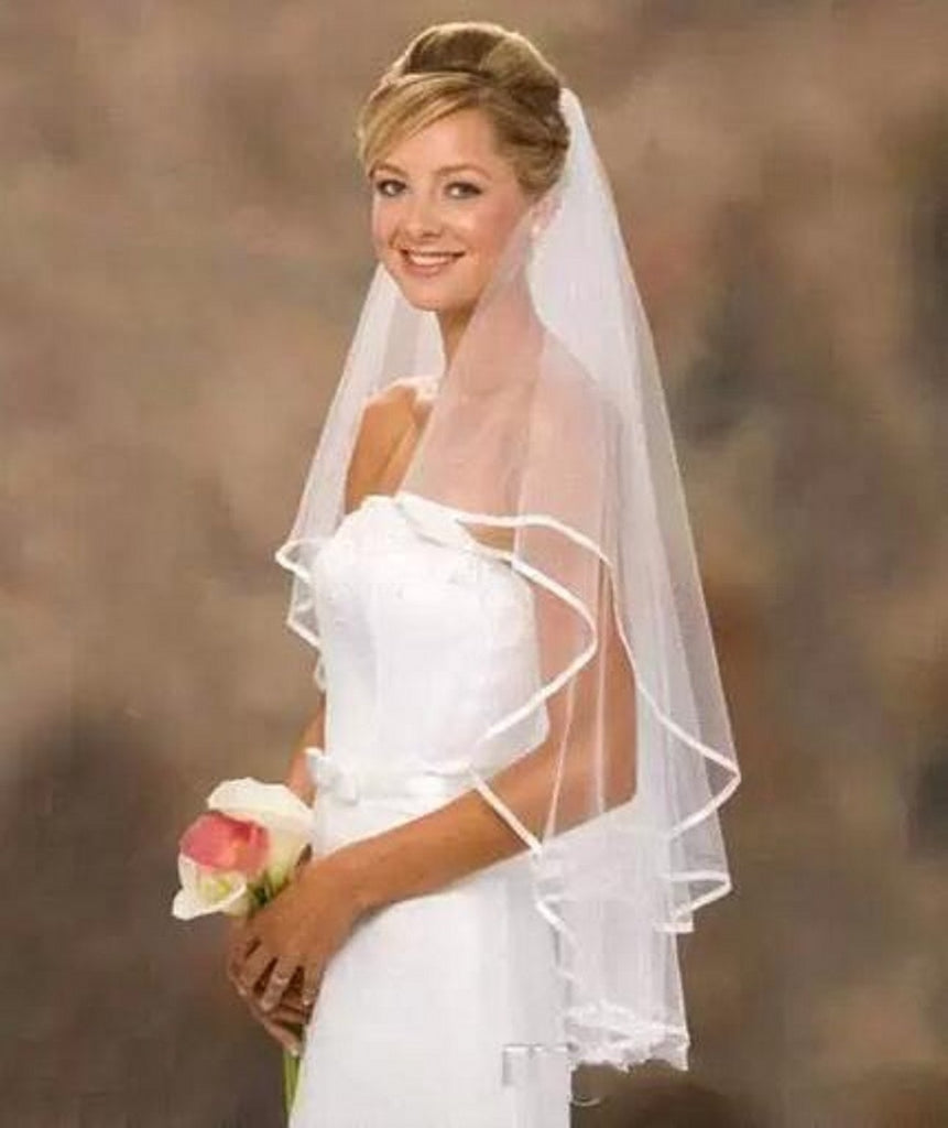 Ivory Two Layers Bridal Veils Ribbon Edge Cheap Bride