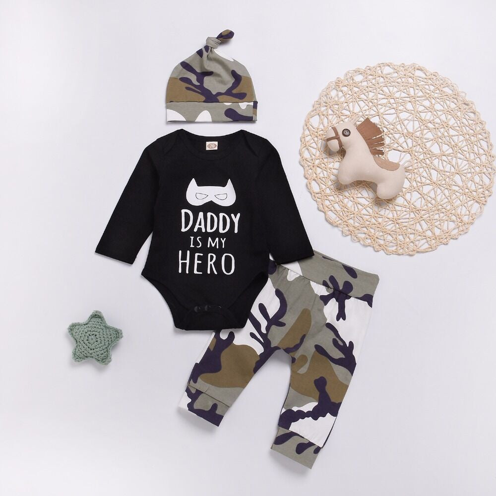 Baby Boys DADDY IS MY HERO Jumpsuit Tops+Camo Pants Hat