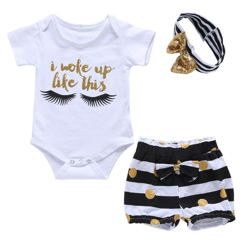 3pcs Boys Girls Cute Clothes Set Kid Romper Jumpsuit Set With Shorts Headband for Girls Outfit Set p2674