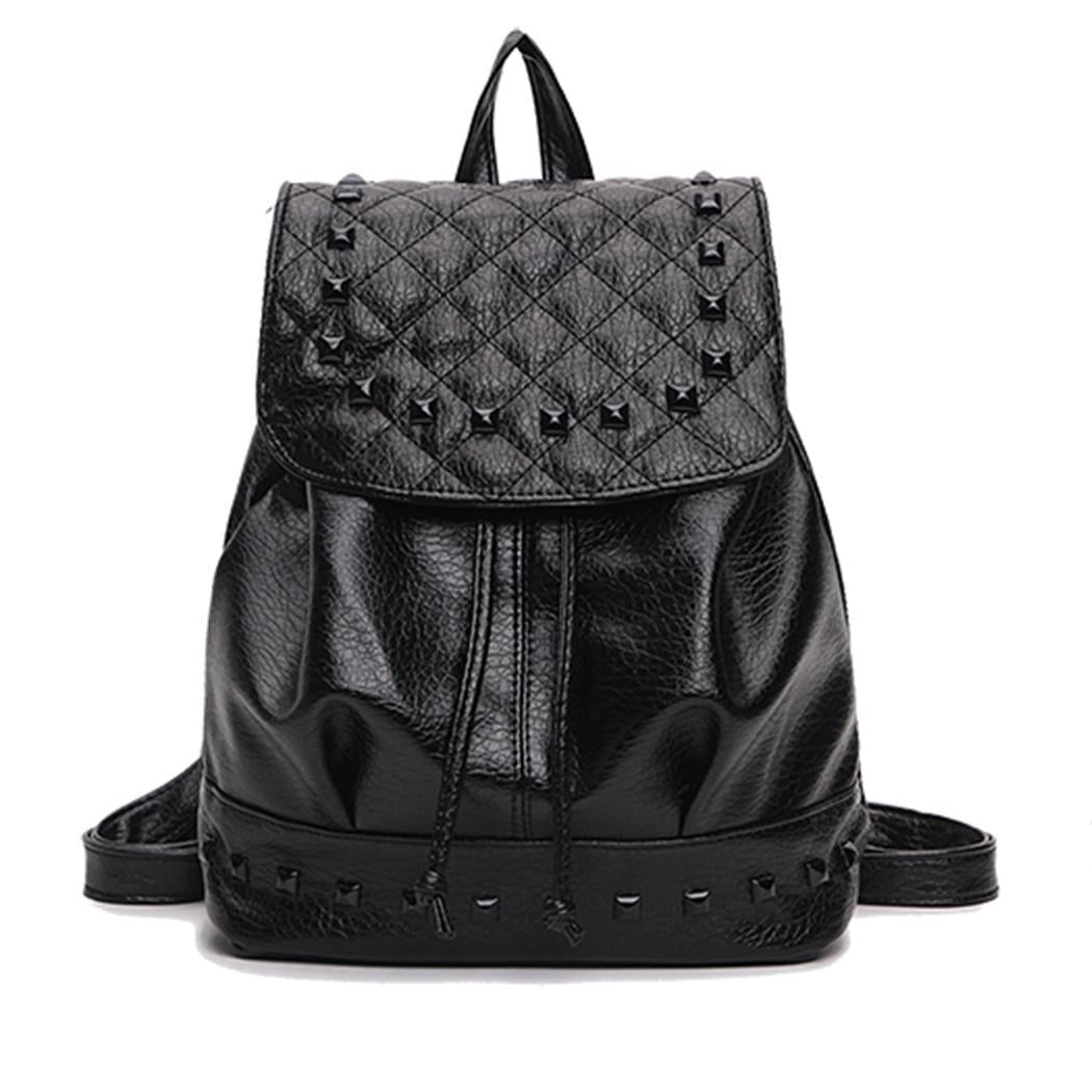 Women's Pu Bag Preppy Zipper Backpack Leather Girls Women Small Fashion Student Rivet p2710