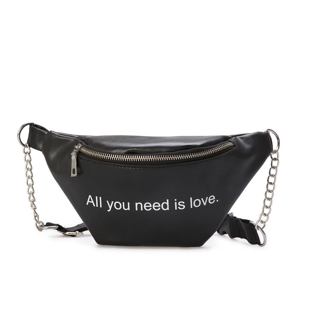 Women Mini Zipper Letter Shape Closure Bag Dumplings Print Waist