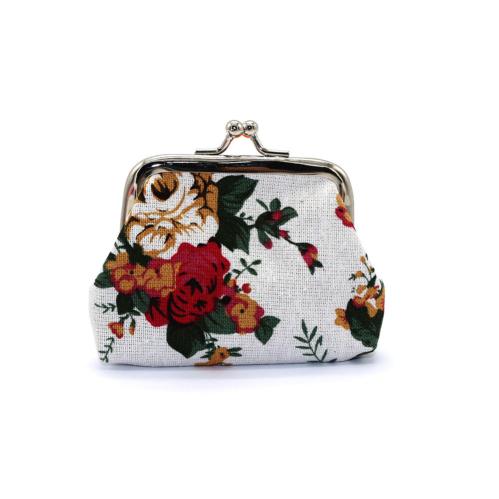 New Women Mini Clutch Flower Wallet Hasp Canvas Purse Cute Coin Holder Case Bag p2532Default TitleBuy mate