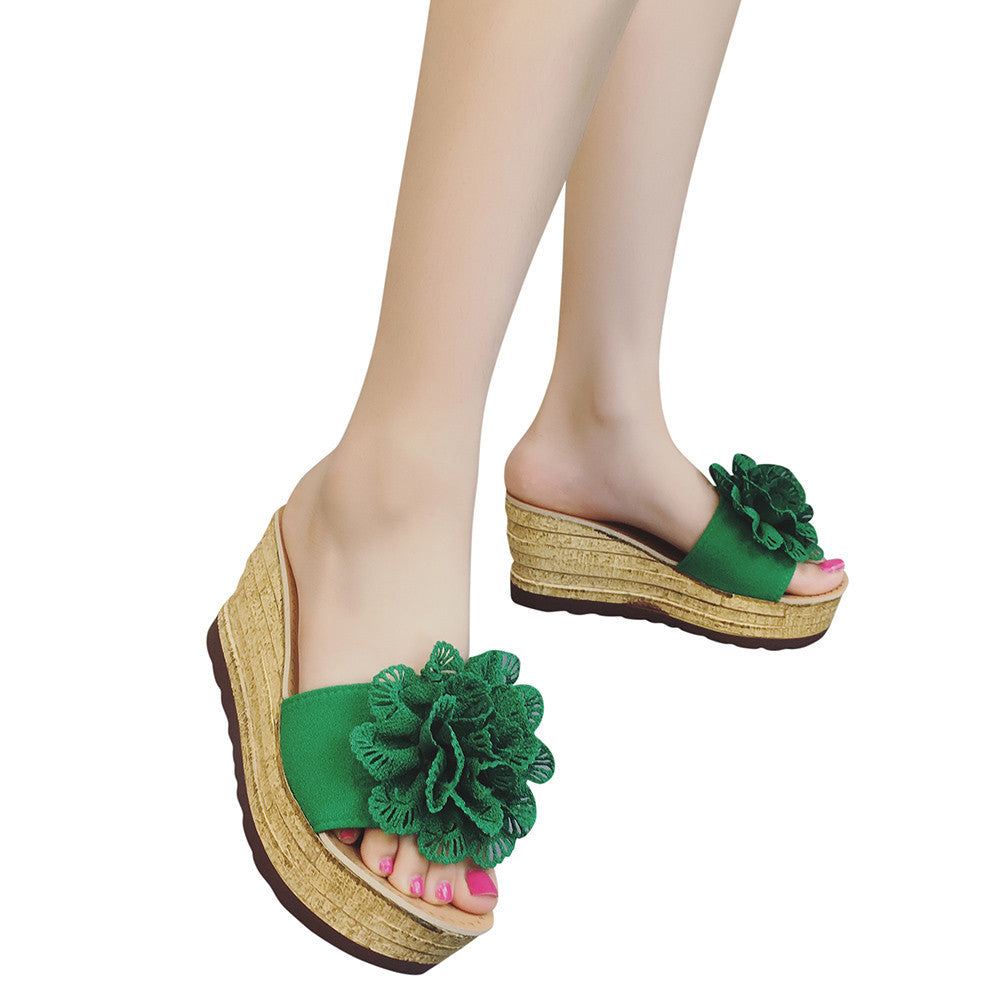Floral Platform Waterproof Women Sandals Wedge Sandals Slippers