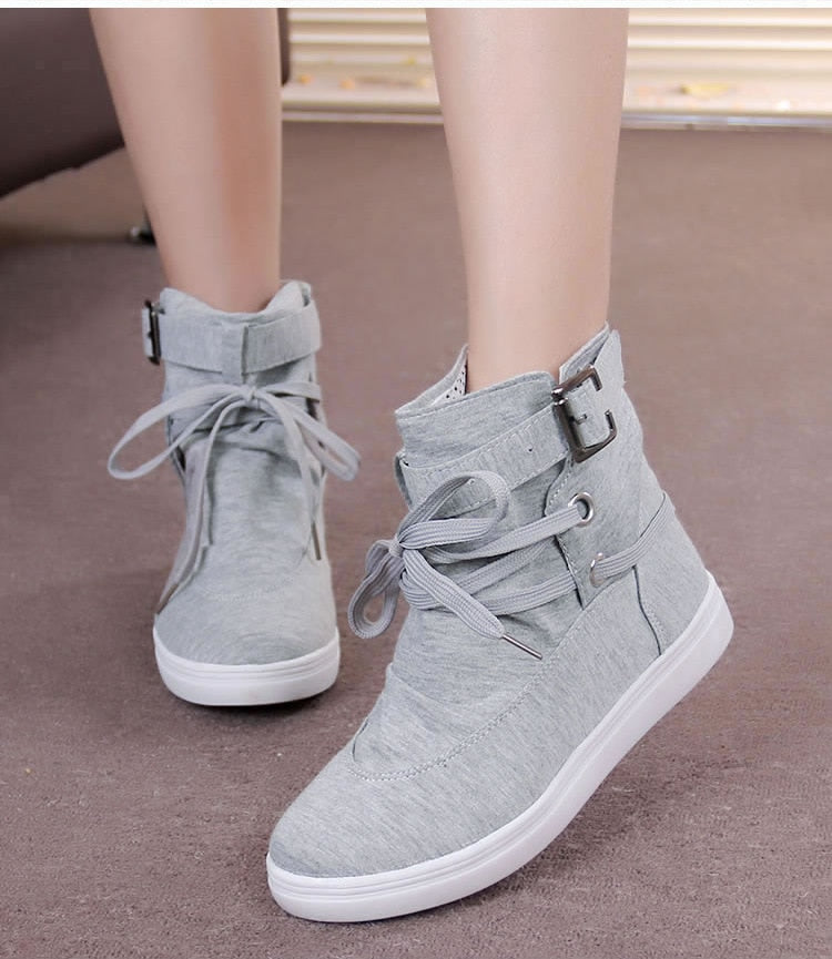 high-top belt buckle decoration front lace-up canvas shoes
