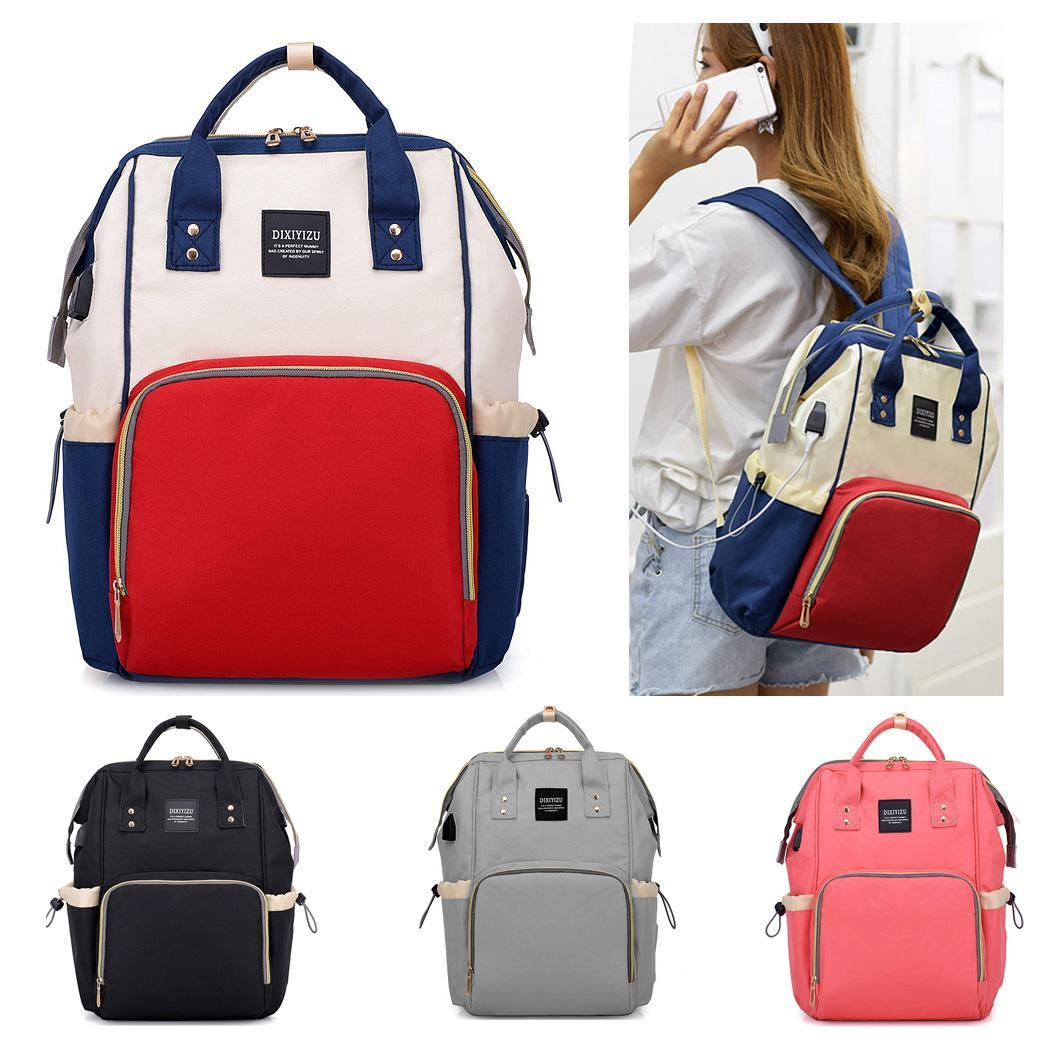 Backpack Mummy Capacity With Women Large Fashion USB Bag Zipper Charger Closure p2713