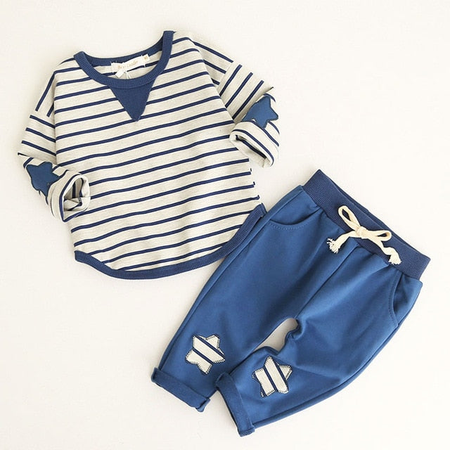 Kids Clothing Sets 2018 Fashion Style Baby Clothing Sets Long Sleeve Patchwork T-shirt+Pants p2586Blue    ax145 / 12MBuy mate