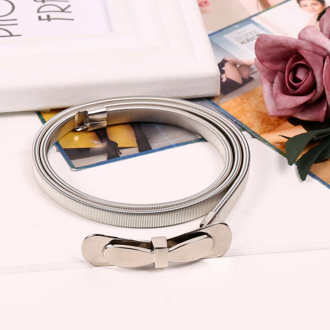 Double bow Belts Waistband Bow Elastic Spring Metal Women Waist Belt Decoration Slim Chain Elastic stretch chain p3837Buy mate
