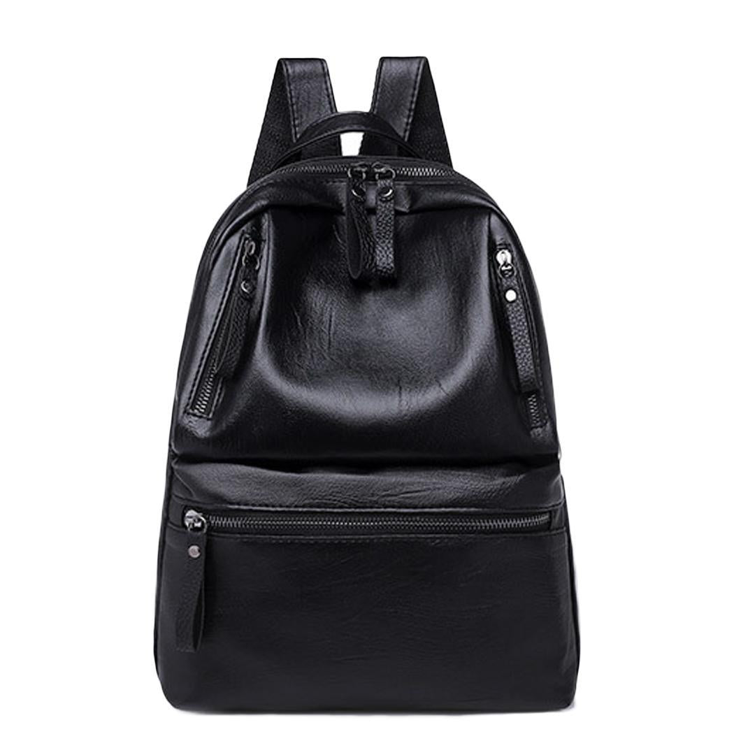 Leather Waterproof Zipper Women Faux Strap Adjustable Multiple Backpack p2708