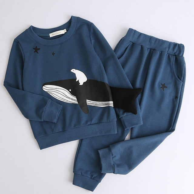 Boys Clothing Sets New Autumn Fashion Style Long Sleeve Boys Clothes Cartoon p2589blue az1774b / 7Buy mate