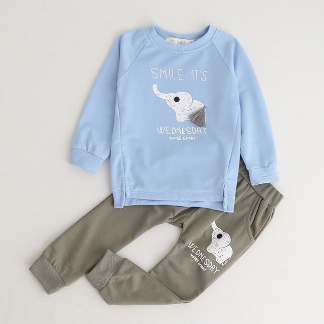 Boys Clothing Sets New Autumn Fashion Style Long Sleeve Boys Clothes Cartoon p2589sky blue al060b / 7Buy mate