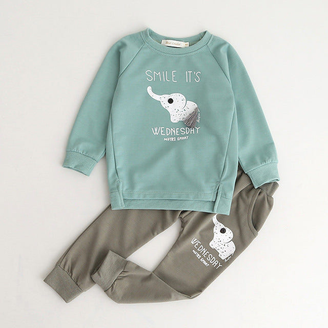 Boys Clothing Sets New Autumn Fashion Style Long Sleeve Boys Clothes Cartoon p2589green al060d / 7Buy mate