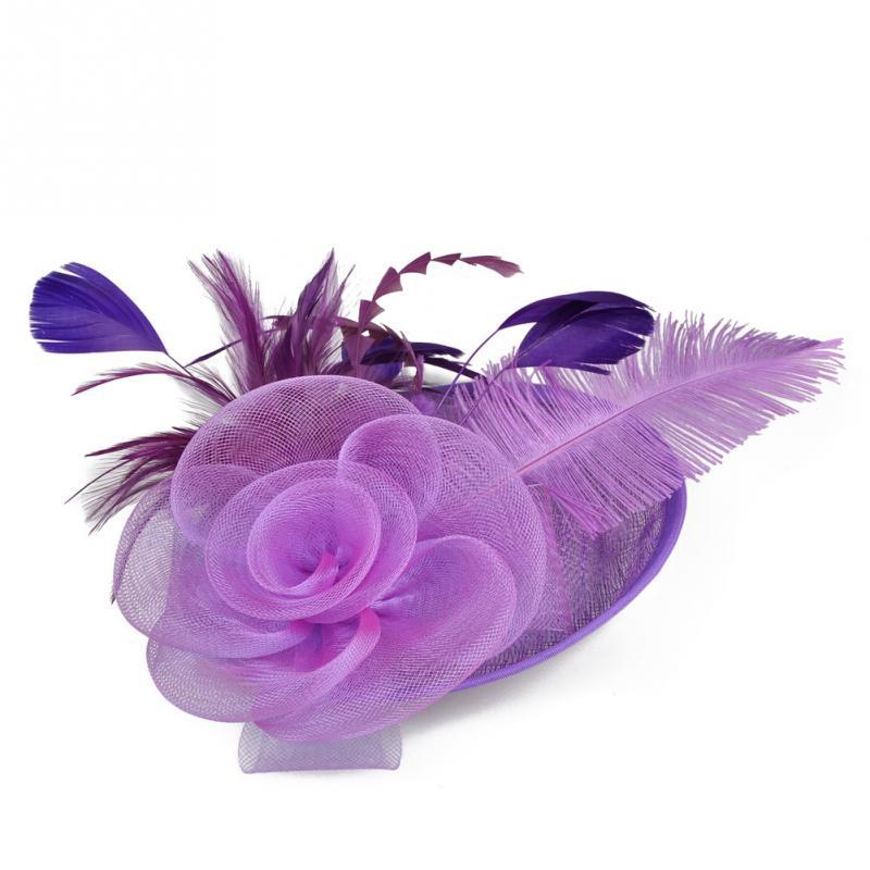 2018 new Elegant Lady Net Feather Fascinator Big Headband Clip Wedding Bridal p3659Buy mate