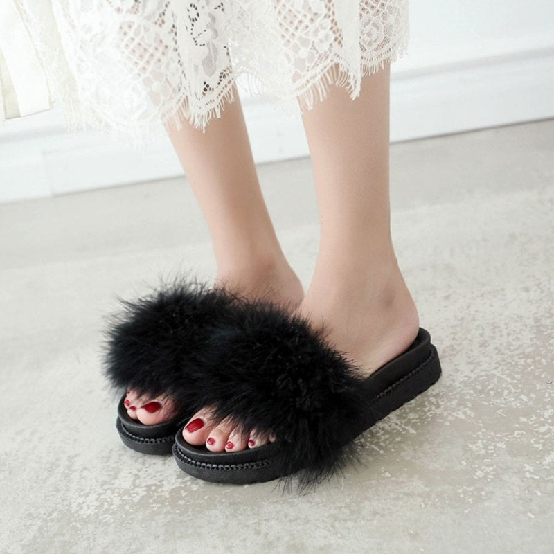 Women   Fashion Slippers Summer Autumn Plush Flip Flips Flat