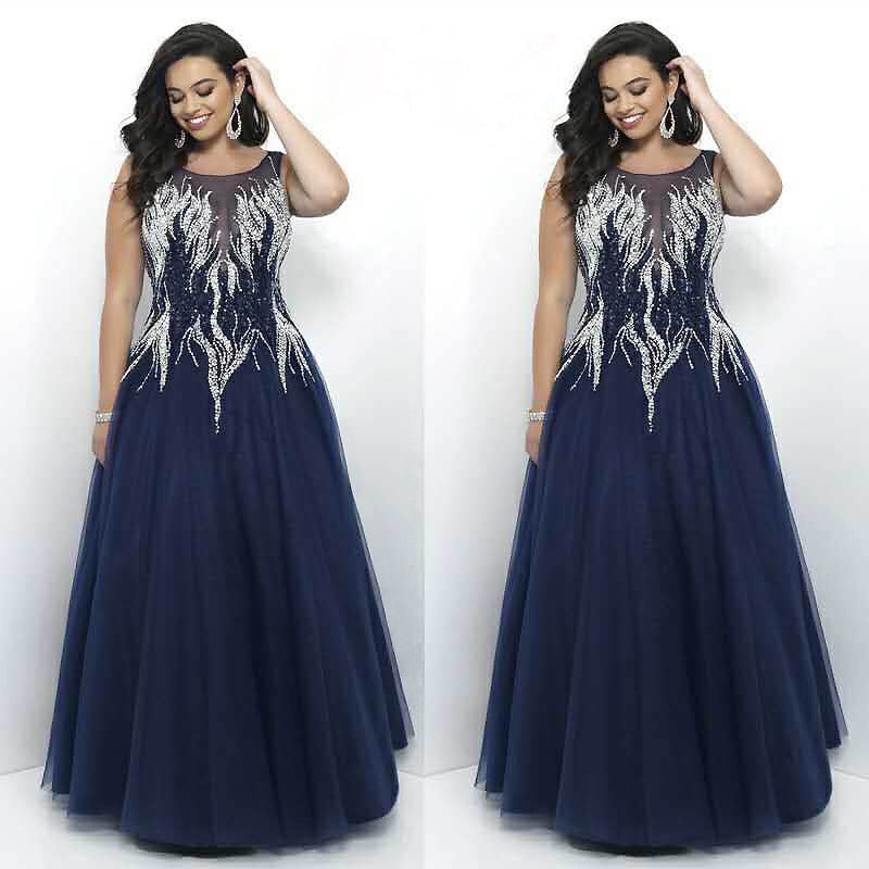 Luxurious Embroidery Beading Evening Dress  Fashion O Neck Sleeveless Long robe de soiree p3421Buy mate