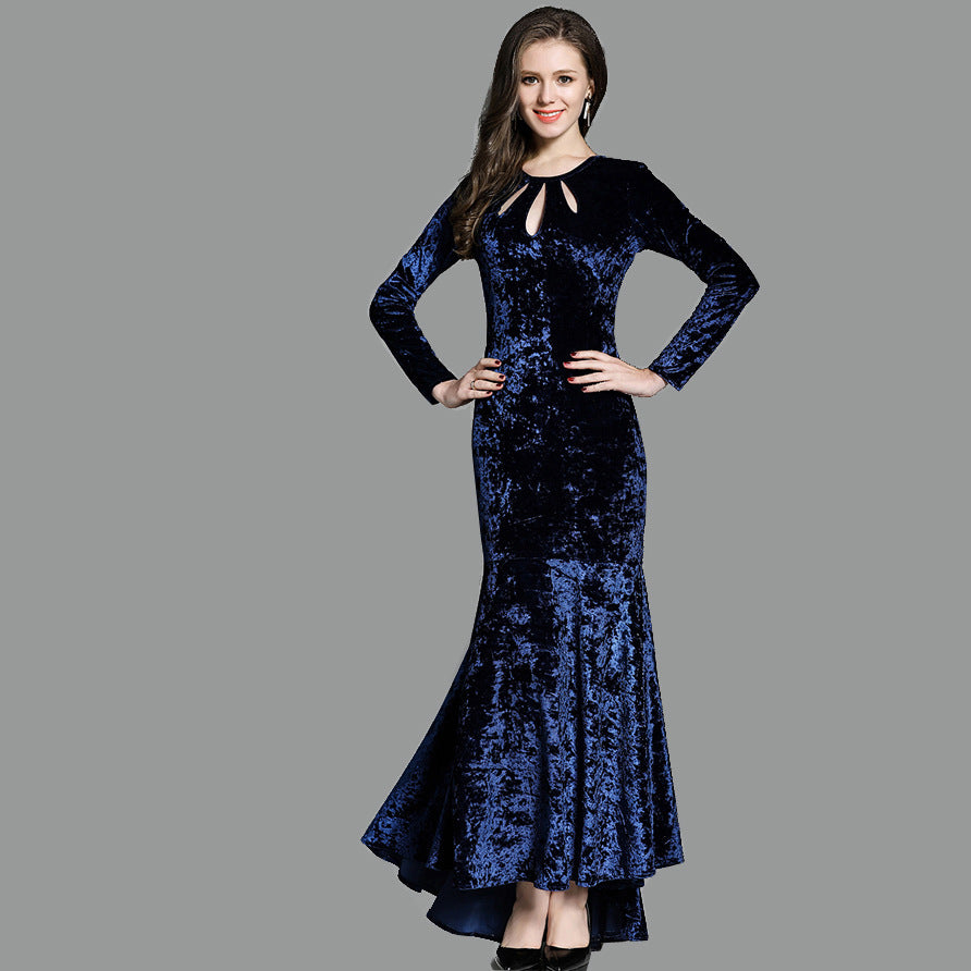 High Quality Velvet Long Sleeves Mermaid Formal Dress Hollow Out Neckline robe de soiree P3384Buy mate