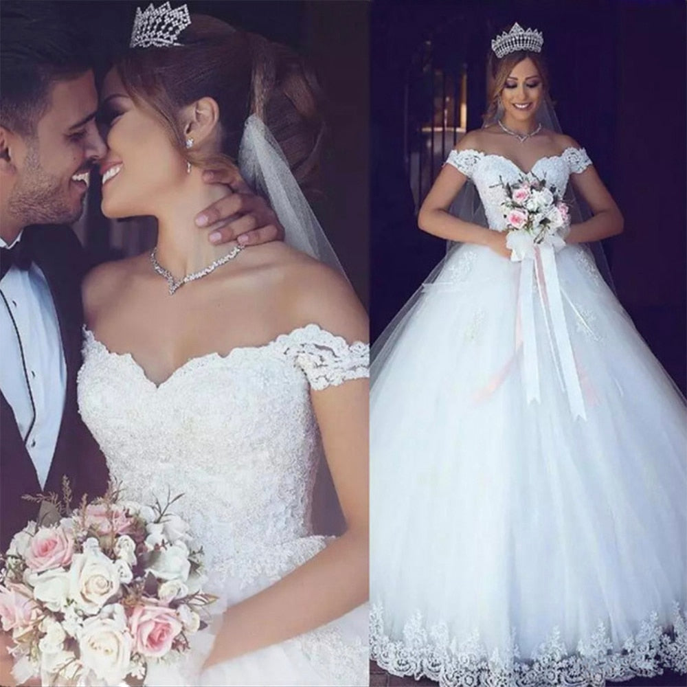 New Arabic Lace Off Shoulder Wedding Dress Ball Gown Customized Plus Size Vestido De Noiva Wedding Gown p3440Buy mate