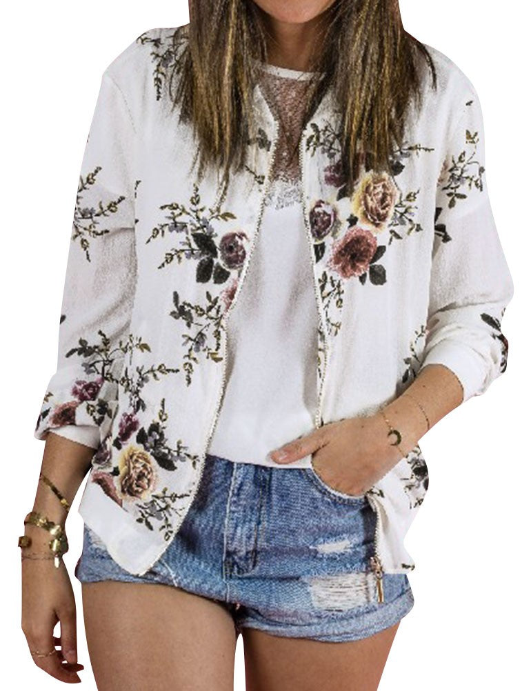 Women Classic Zip Floral Printed Jacket Round Neck Long Sleeve Casual Coat Outwear p1278White / SBuy mate
