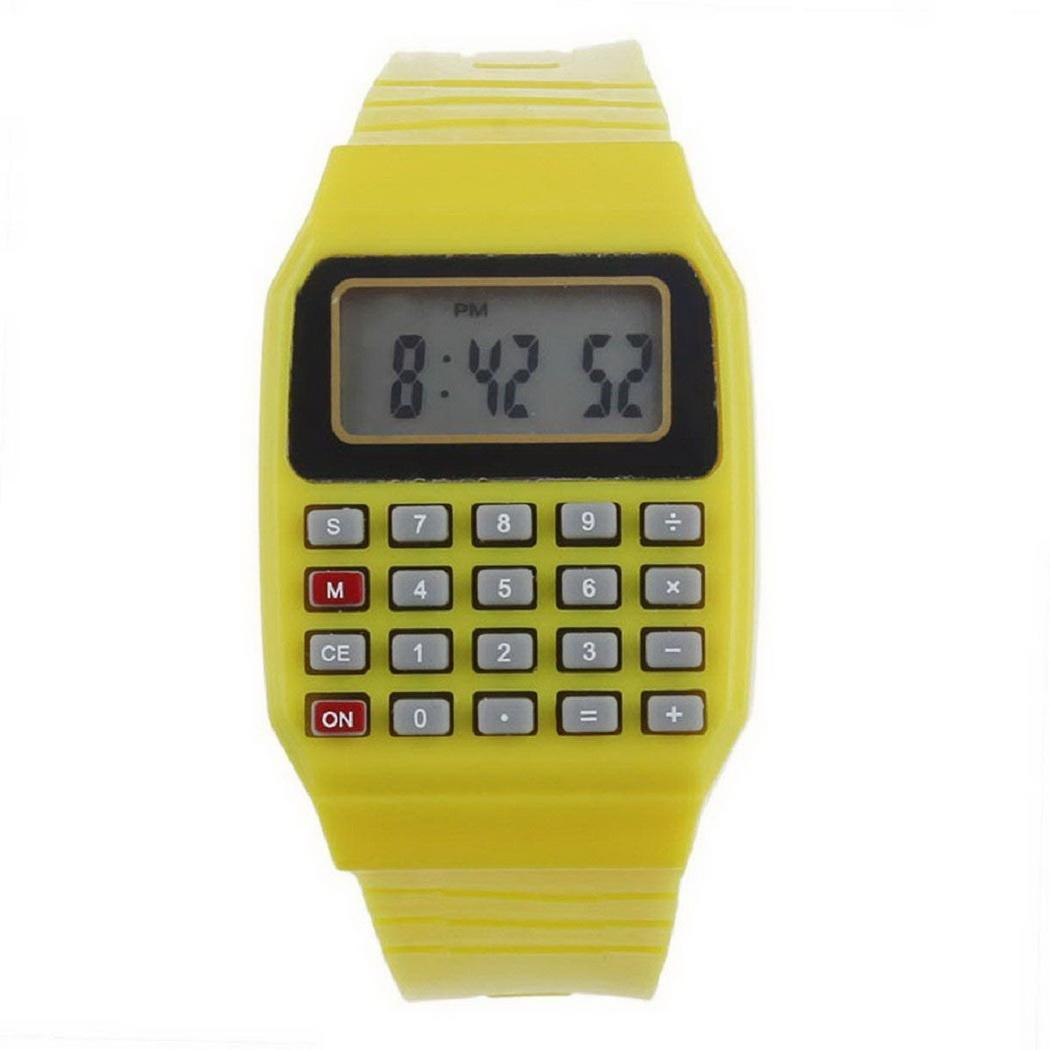 Unisex Casual Electronic Square Watch Waterproof Buckle Fashion Digital Children Calculator  p3954Buy mate