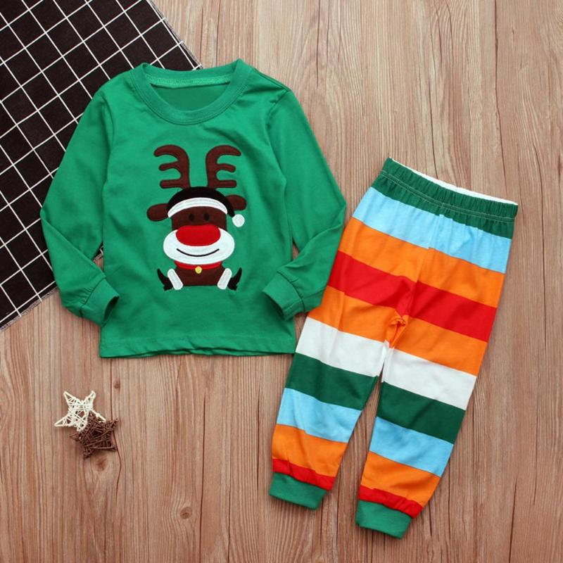 Christmas Clothes Set Children Outfits Cartoon Long Sleeve O-neck T-shirt + Stripe Pants Set Kids Clothing p2673