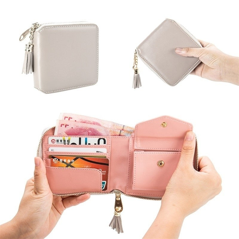 Stylish Women Pu Leather Wallet Small Clutch Purse Zipper Tassel Wallet Card Holder Bag p2780