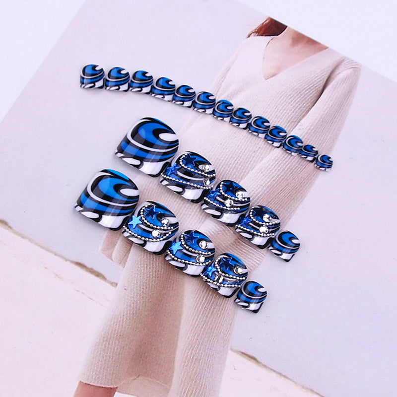 Sapphire Blue Rhinestone Stickers Foot Toenail Stickers Nail Art False Fake Nail tips p3638Buy mate