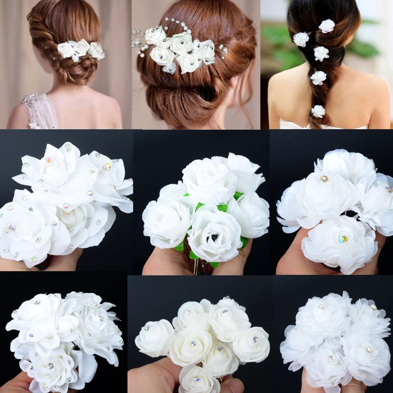 White Rose Flower Crystal Rhinestone Hair Pin Beauty Hair Clip Women Accessory Jewelry Free Ship p3682Buy mate
