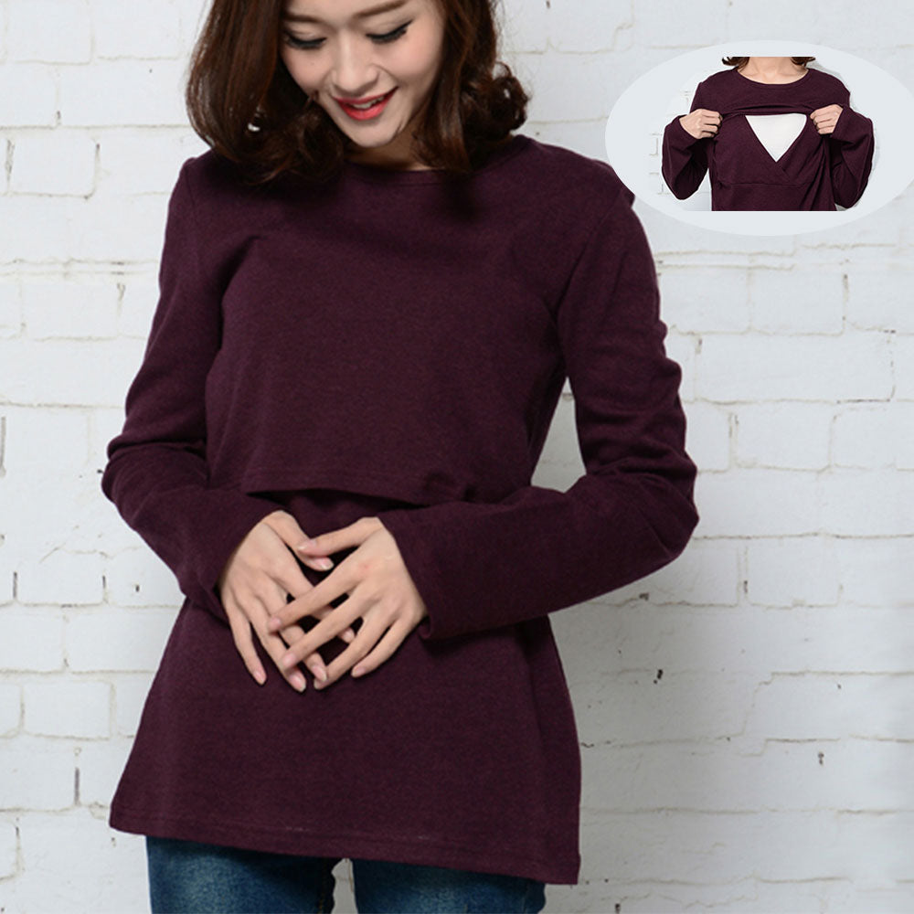 59f42f4d835 Maternity Tops Breastfeeding Clothes for Pregnant Women T shirt Nursing Top  Cotton Clothing for Feeding p2865