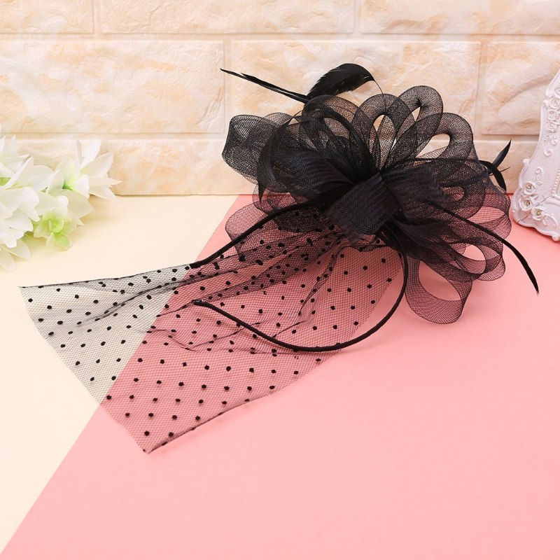7005136f6f1 Women Bridal Hair Hoop Clip Cocktail Party Dot Mesh Flower Feather  Fascinator Hat New Hair p3661