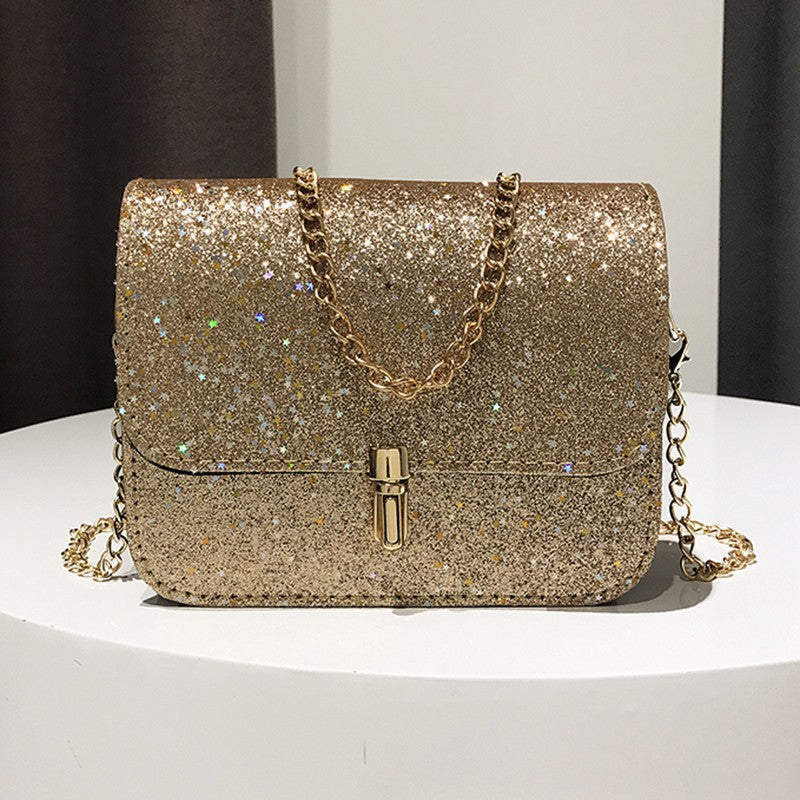 New Fashion Women Sequined Crossbody Bag PU Leather Chain Mini Messenger p2790GoldBuy mate