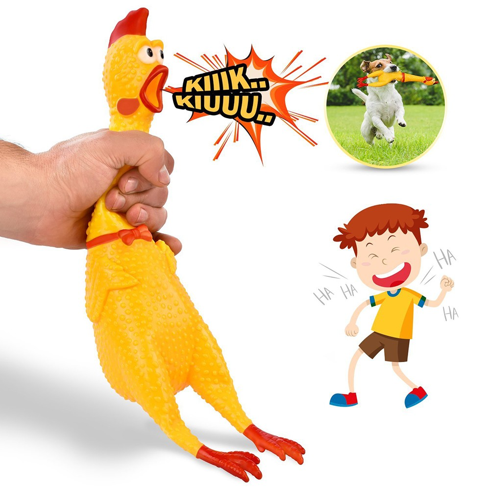 17CM Screaming Chicken Squeeze Sound Toy Pets Shrilling