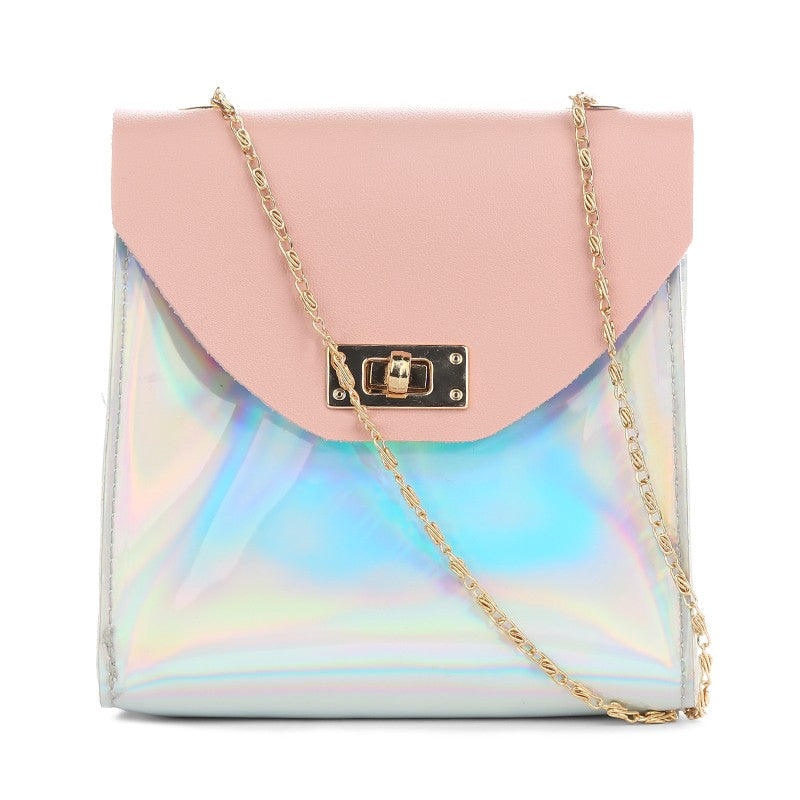 New Vintage Women Crossbody Bag Flap Over Chain Messenger Shoulder Bag PU Leather Small Bag p2761One Size / PinkBuy mate