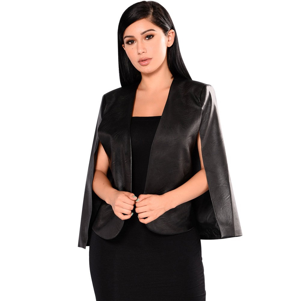 PU Leather Jacket  Split Loose Cape Cloak Coat Street Black