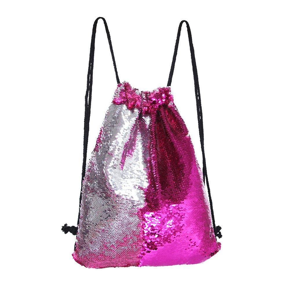 Women Cosmetic Bags Fashion Glittering Dance Bag Double Color Reversible Sequins Daypack p2706Rose & SilverBuy mate