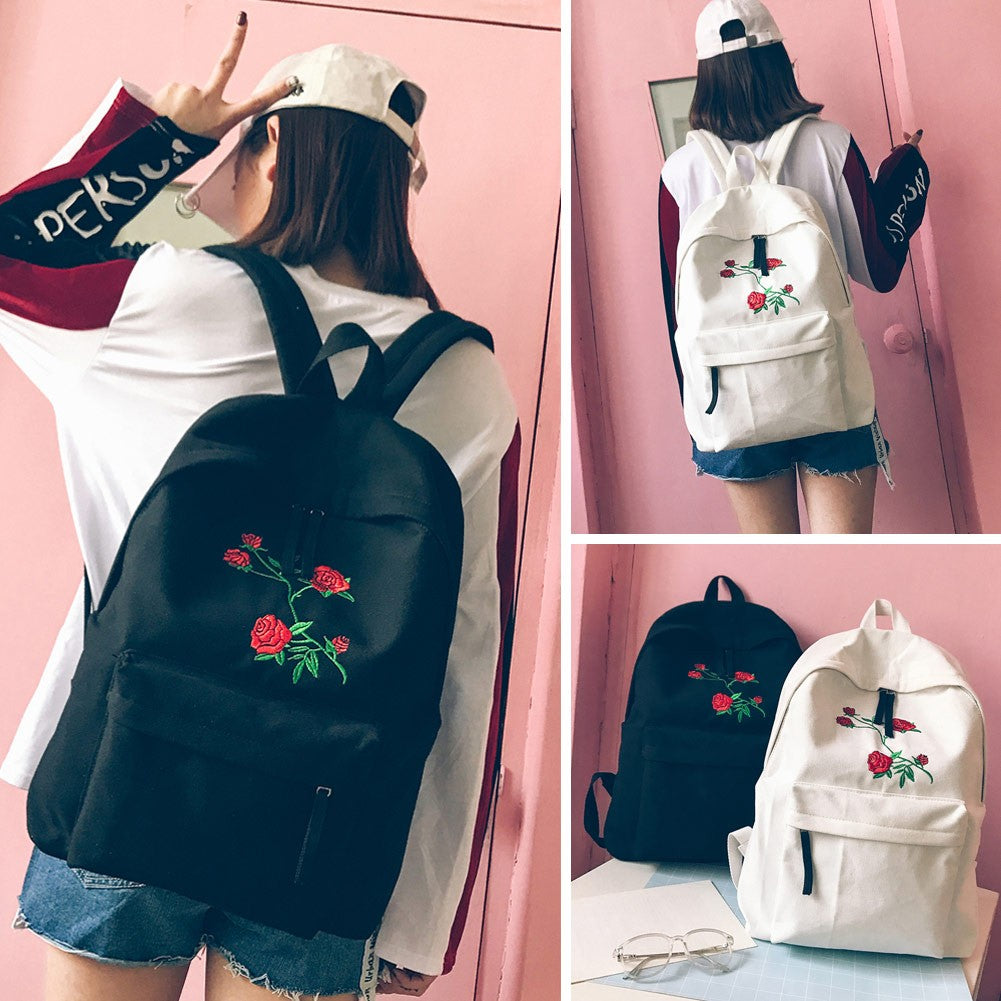 Women Backpack Floral Rose Embroidery Zipper High Capacity Multifunction Teenagers p2715WhiteBuy mate
