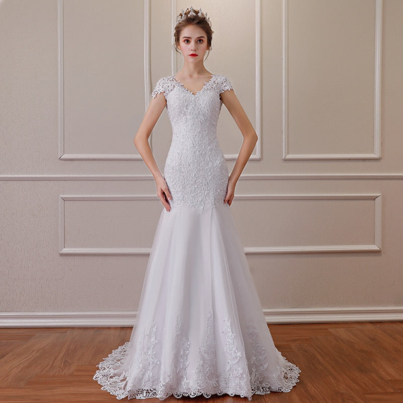 2019 New Backless Appliques Mermaid Wedding Dresses Elegant Bride Dresses Vestido De Noiva p3610