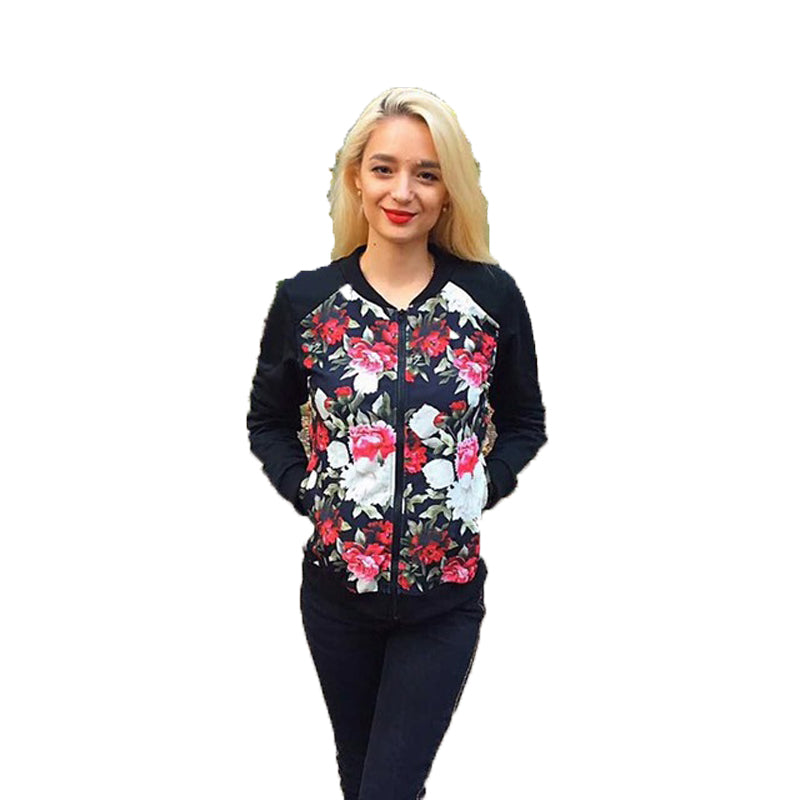 Print Jacket Coat Pocket Long Sleeve Jacket female Streetwear