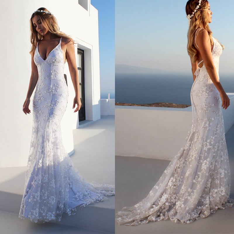 Dress Women Stretch Floor Length Lace Long Dress V Neck Backless