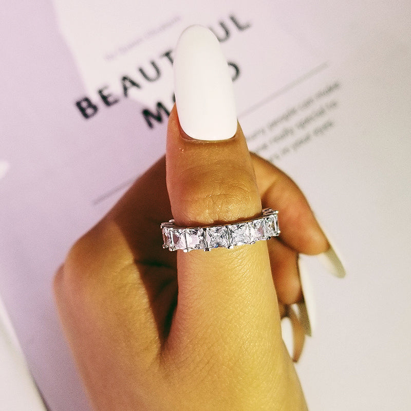 luxury real 925 sterling silver wedding band eternity Ring for women bridal anniversary party valentine day gift jewelry R4816S