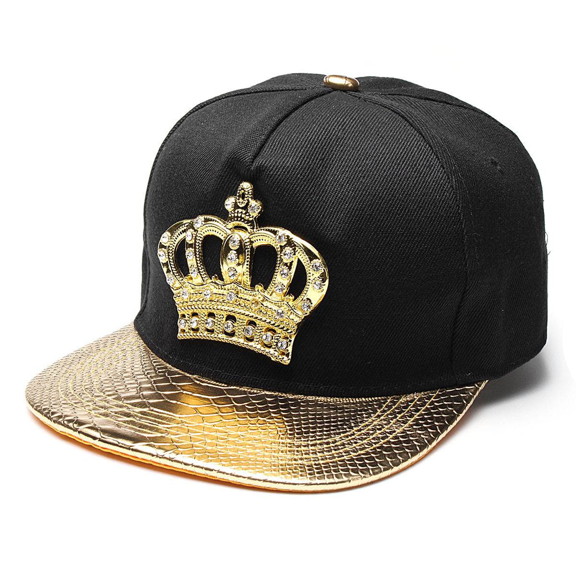 KING Crown Baseball Caps Adjustable Hip Hop Hats Black Summer Peaked Rhinestone Crystal Sun Cap p3874