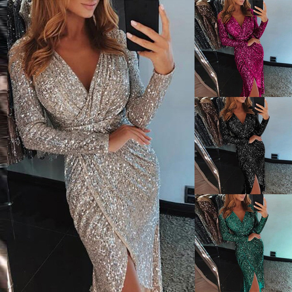 Women Deep V Sequins Wrap Ruched Long Sleeve Nightclub Dress P3383Buy mate