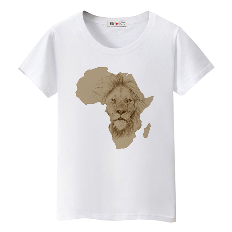 South Africa map cool tshirt creative design African lion fashion t-shirt women good quality comfortable tops tees p0527Buy mate