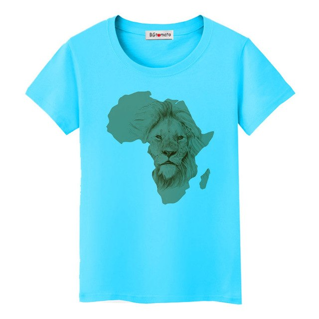 South Africa map cool tshirt creative design African lion fashion t-shirt women good quality comfortable tops tees p05272 / 4XLBuy mate
