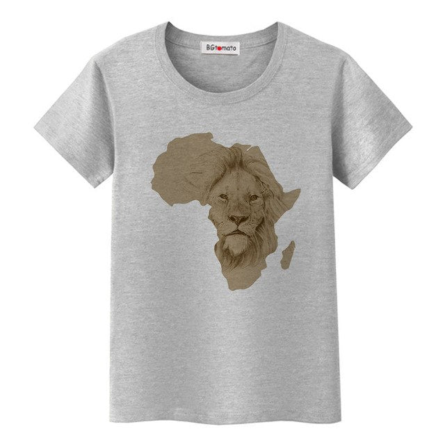South Africa map cool tshirt creative design African lion fashion t-shirt women good quality comfortable tops tees p05274 / 4XLBuy mate