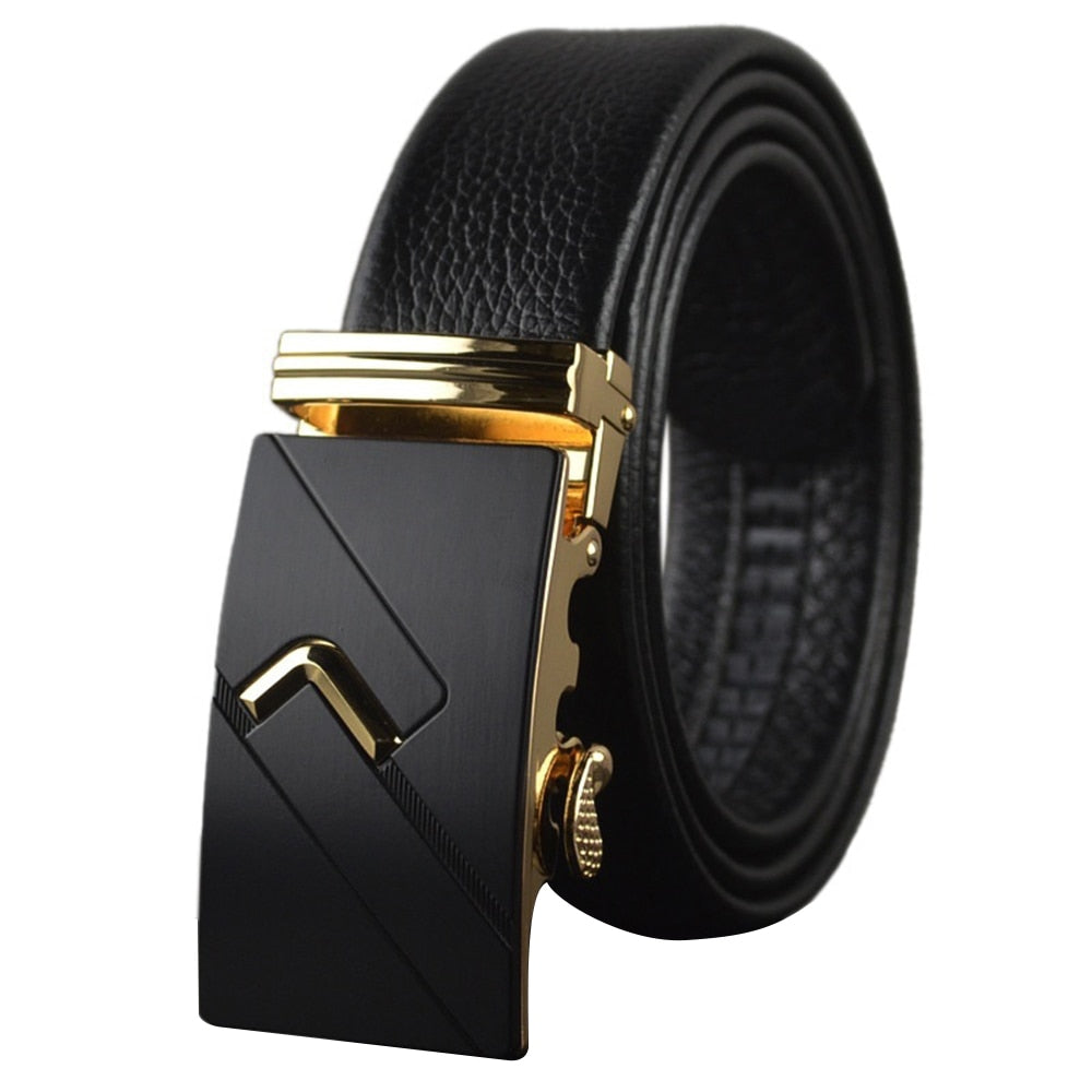 Fashion Men Modern Design Leather Strap Belt Business Zinc Alloy Right Angle Pattern Buckle Leisure p3818