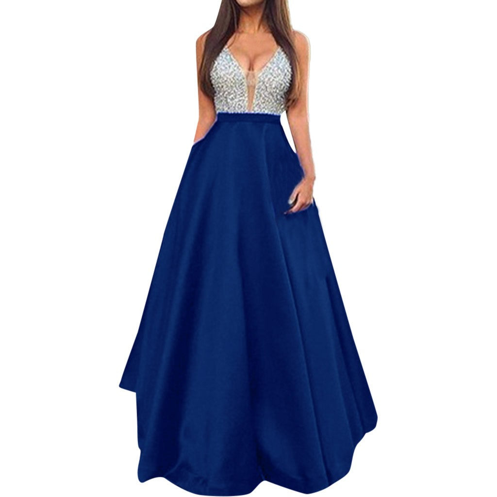 Women  Sleeveless V Neck Wedding Dress  Elegant Party Evening Slim  Maxi Dresses P3711Blue / XLBuy mate